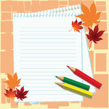 Notebook, pencils and maple leaves on orange background Royalty Free Stock Image