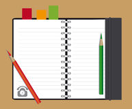 Notebook and pencils Stock Photos