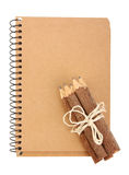 Notebook and pencils on white Stock Photo