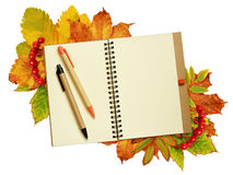 Notebook and pens on dry autumn leaves Stock Photo