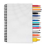 Notebook, pens and pencils Stock Images