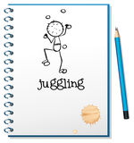 A notebook with a person juggling at the cover page. Illustration of a notebook with a person juggling at the cover page on a white background Stock Images