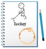 A notebook with a person playing hockey at the cover page. Illustration of a notebook with a person playing hockey at the cover page on a white background Stock Photo