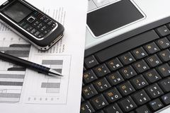 Notebook, phone, business technology Royalty Free Stock Image