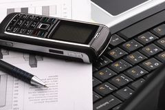 Notebook, phone, business technology Stock Photo