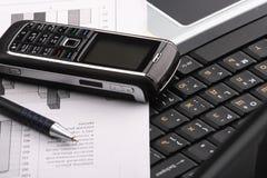 Notebook, phone, business technology stock photo