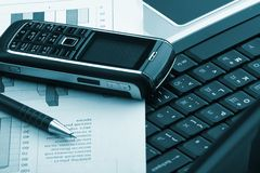 Notebook, phone, business technology Royalty Free Stock Photos