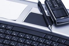 Notebook, phone, business technology stock image