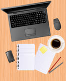 Notebook, phone and office supplies Stock Photos