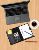 Notebook, phone and office supplies. Vector Royalty Free Stock Photography