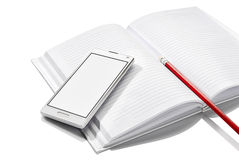 Notebook, phone and pencil Stock Photo