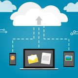 Notebook phone and tablet upload cloud storage vector Stock Image