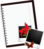 Notebook with photo frames with flowers Stock Photo