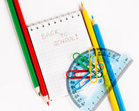 Notebook  with phrase Back to school Stock Image