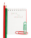 Notebook  with phrase Back to school Stock Photos
