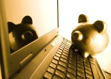 Notebook & Piggy bank. Business time is money time Royalty Free Stock Photo
