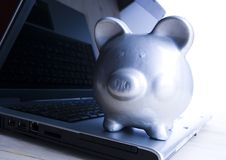 Notebook & Piggy bank Stock Photo