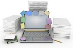 Notebook with the piles of paper for printing Royalty Free Stock Photo