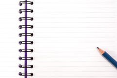 Notebook. Purple notebook and pencil Royalty Free Stock Photography