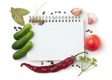 Notebook with recipes. And shopping list in the kitchen Royalty Free Stock Photos