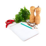 Notebook with recipes Stock Images