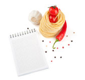 Notebook for recipes. Vegetables and pasta Royalty Free Stock Photography