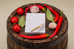 Notebook with recipes and in the kitchen Royalty Free Stock Images