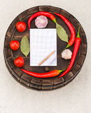 Notebook with recipes and in the kitchen Stock Photos