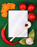 Notebook with recipes and in the kitchen Royalty Free Stock Image