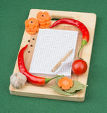 Notebook with recipes and in the kitchen Stock Image