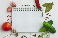 Notebook with recipes. And shopping list in the kitchen Royalty Free Stock Photography
