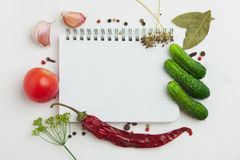 Notebook with recipes. And shopping list in the kitchen Stock Photography