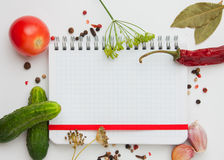 Notebook with recipes. And shopping list in the kitchen Stock Images
