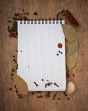 Notebook for recipes and spices royalty free stock image