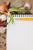 Notebook for recipes and spices Royalty Free Stock Photo