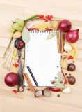 Notebook for recipes and spices Royalty Free Stock Photography