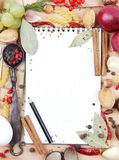 Notebook for recipes and spices. Notebook for recipes and miscellaneous spices Stock Photo