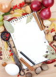 Notebook for recipes and spices. Notebook for recipes and miscellaneous spices Stock Image