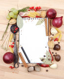 Notebook for recipes and spices. Notebook for recipes and miscellaneous spices Stock Photos