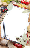 Notebook for recipes and spices. Notebook for recipes and miscellaneous spices Royalty Free Stock Photo