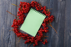 Notebook for recipes with Viburnum Royalty Free Stock Photo