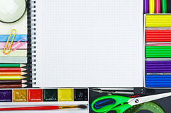Notebook for recording and school supplies Stock Photography