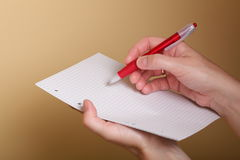 Notebook and red pen women Royalty Free Stock Image