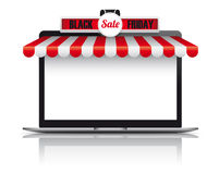 Notebook Red White Awning Black Friday Stock Image