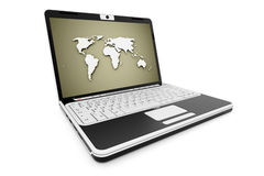 Notebook rendered with world map green Royalty Free Stock Photo
