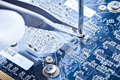 Notebook repair printed circuit board Royalty Free Stock Photos