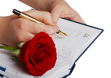 Notebook and rose Stock Photos