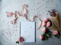 Free Notebook, Roses, Pink Ribbon And Sweet Candies In Shape Of Heart On White Background Stock Photography - 105650902