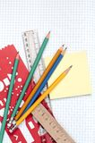 Notebook and school accessories. Pencils, rulers Royalty Free Stock Photography