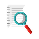 Notebook school with magnifying glass supply icon Royalty Free Stock Photography